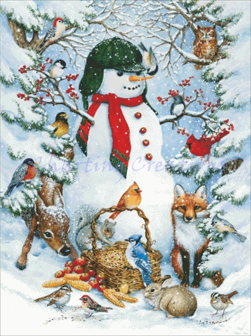 Snowman With Birds And Trees