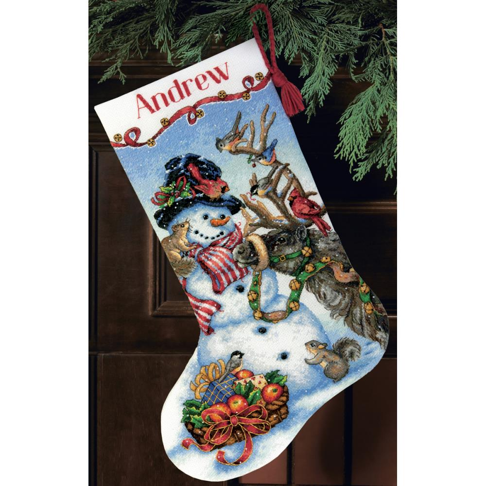 Gold Collection Snowman Gathering Stocking Counted Cross Stitch