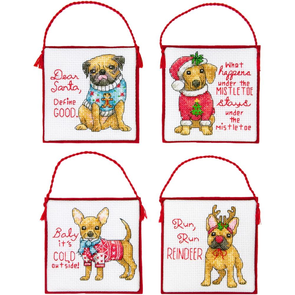 Christmas Pups Ornaments Counted Cross Stitch Kit