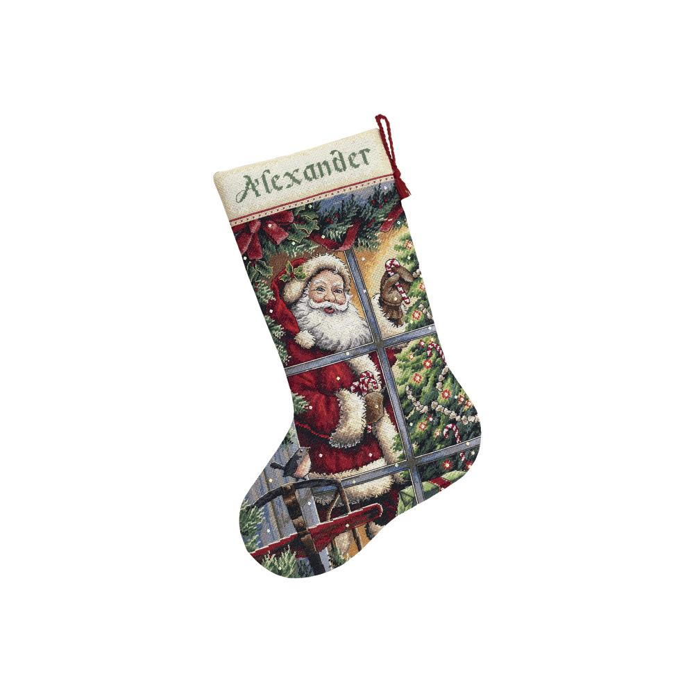 Gold Collection Candy Cane Santa Stocking Cross Stitch Kit