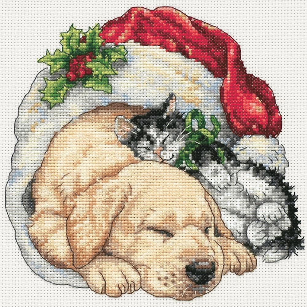 Gold Petites Christmas Morning Pets Counted Cross Stitch Kit