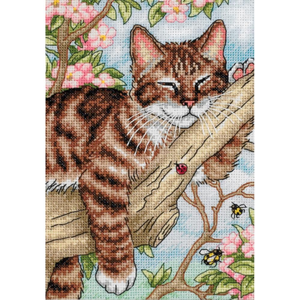 Gold Petites Napping Kitten Counted Cross Stitch Kit