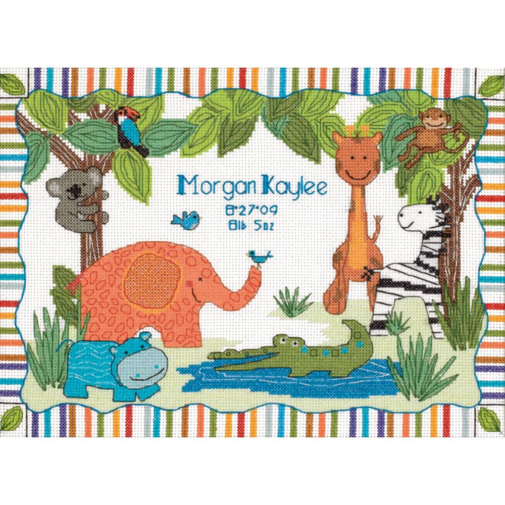 Baby Hugs Mod Zoo Birth Record Counted Cross Stitch Kit
