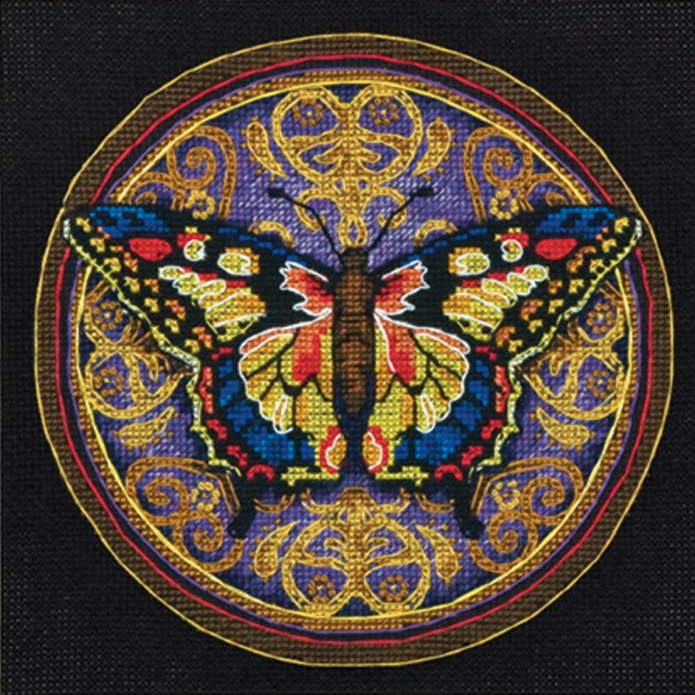 Gold Petite Ornate Butterfly Counted Cross Stitch Kit
