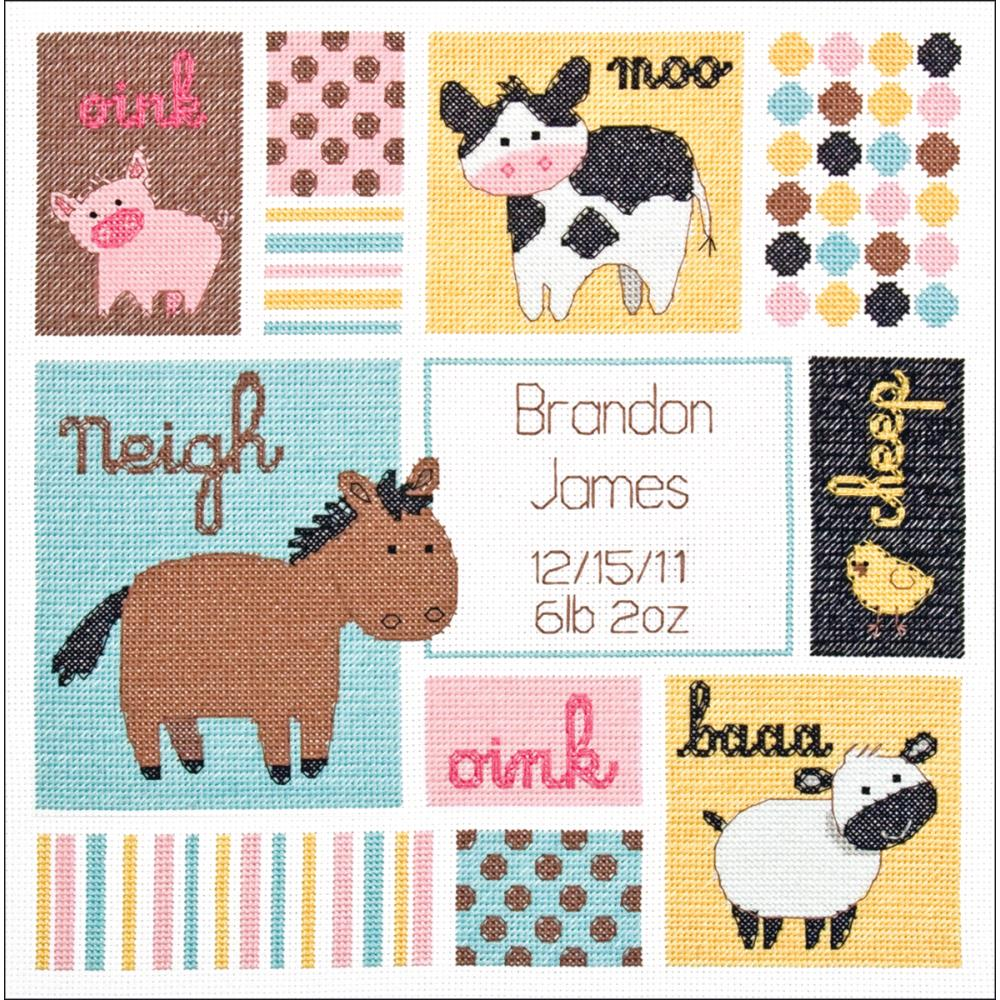 Baby Hugs Barn Babies Birth Record Counted Cross Stitch Kit