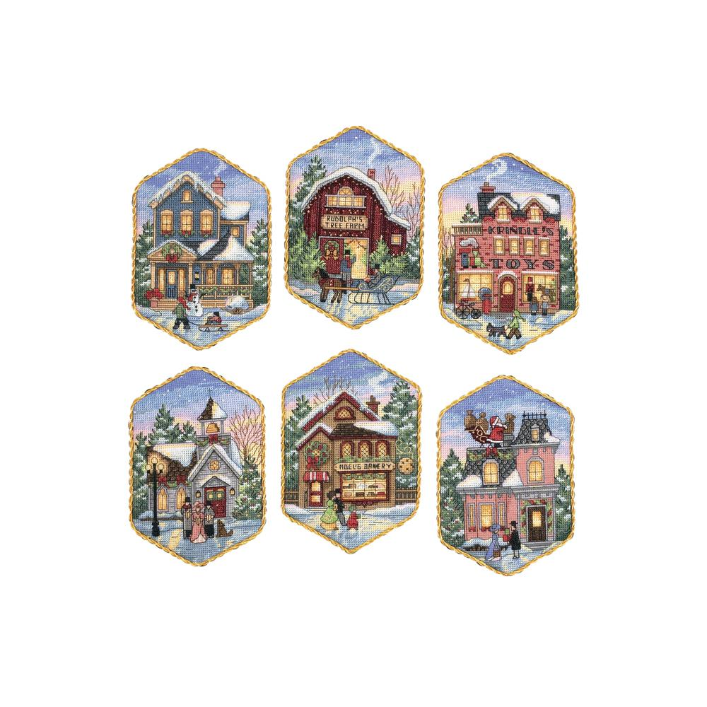 Gold Collection Christmas Village Ornaments Counted Cross Stitch