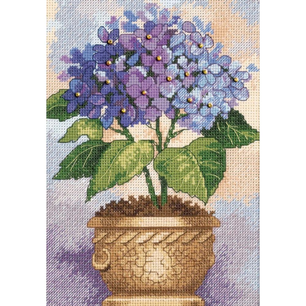 Gold Petites Hydrangea In Bloom Counted Cross Stitch Kit