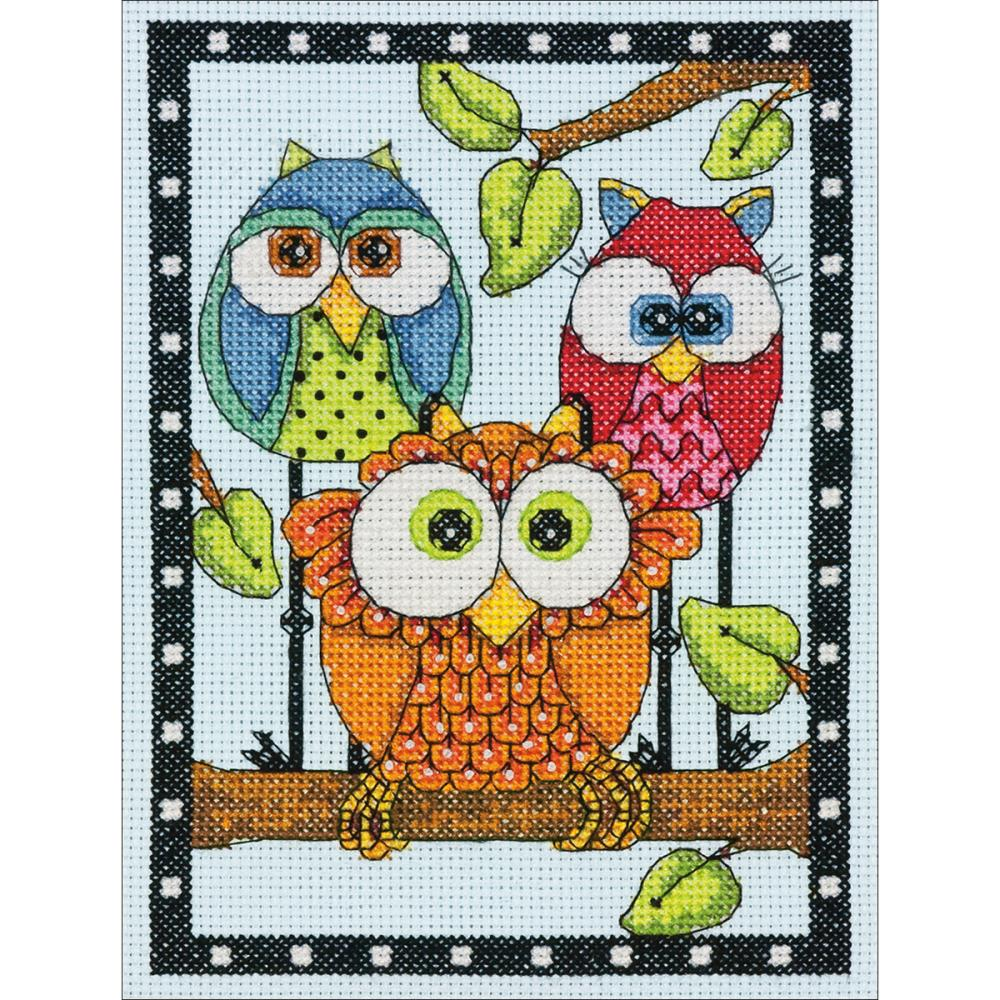 Mini Owl Trio Counted Cross Stitch Kit
