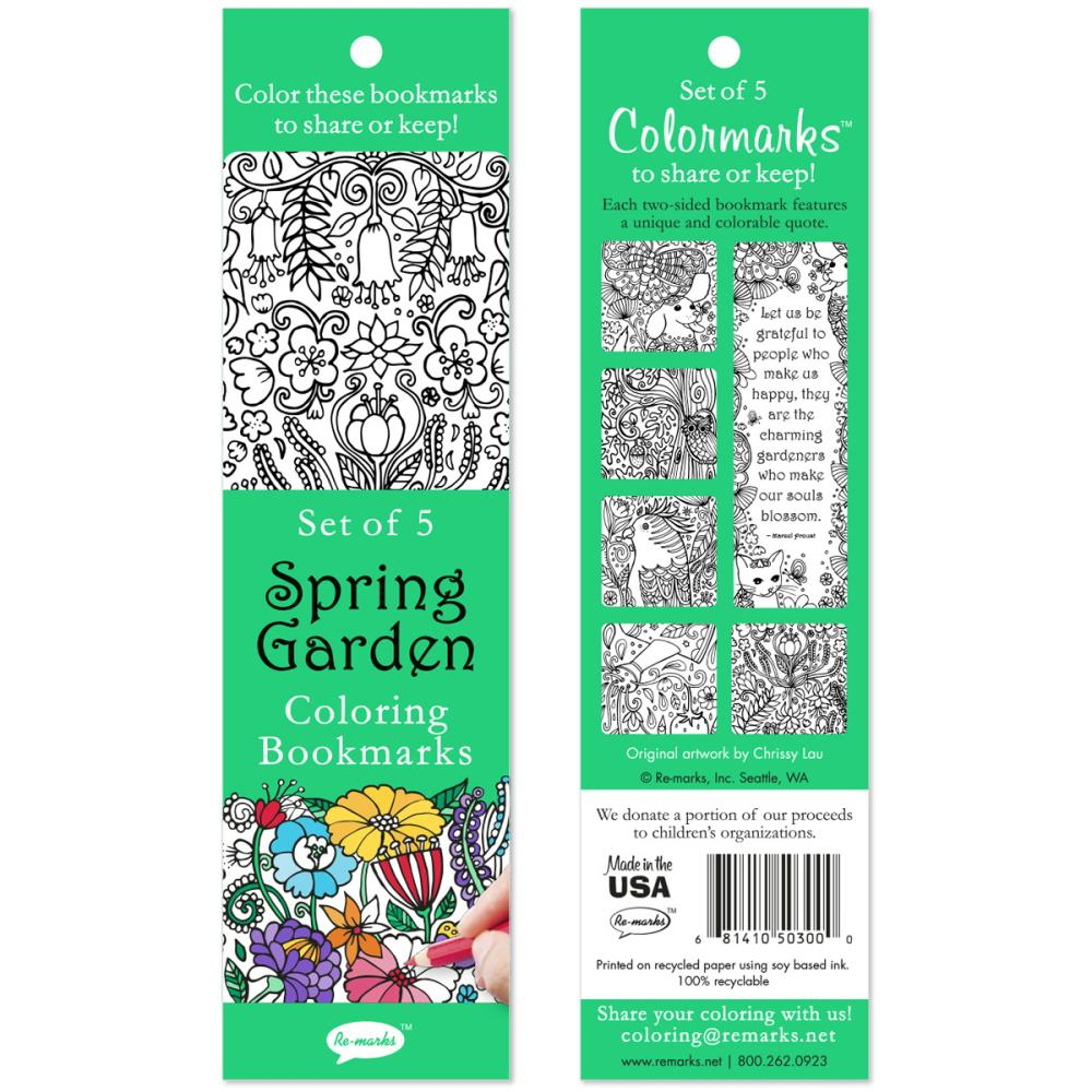 Spring Garden Coloring Bookmarks