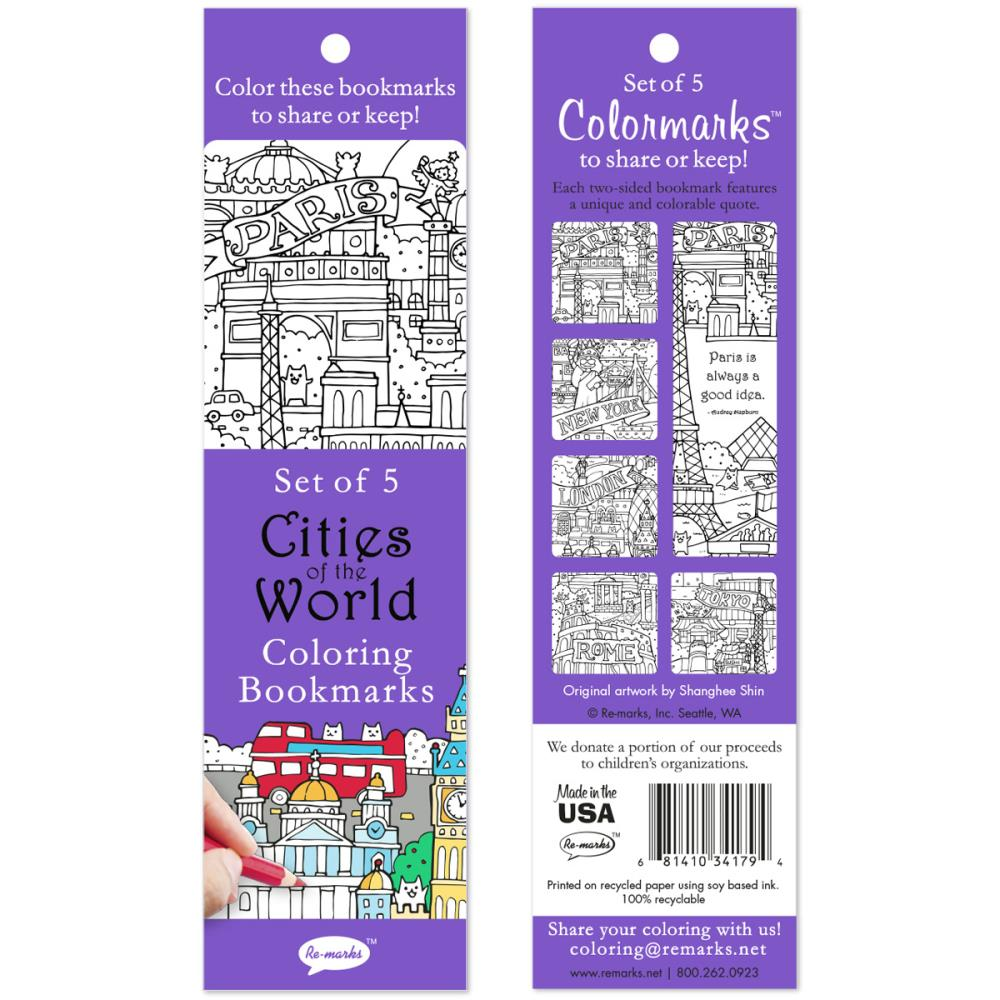 Cities Of The World Coloring Bookmarks