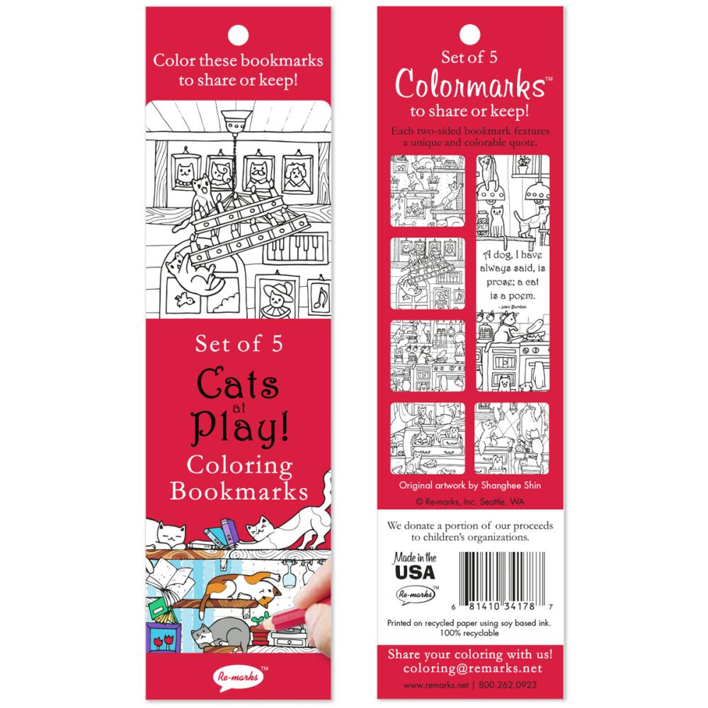 Cats At Play Coloring Bookmarks