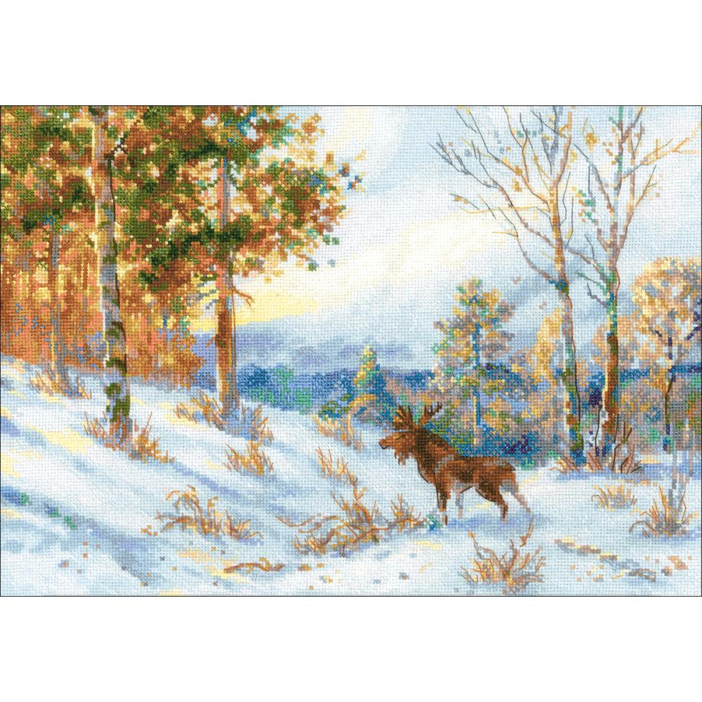 Elk In A Winter Forest (14 Count)