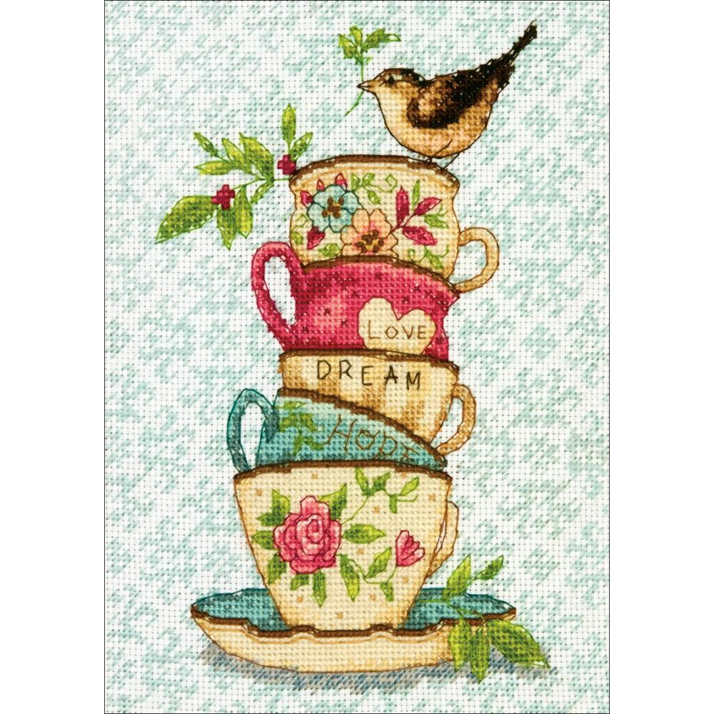 Gold Petites Stacked Tea Cups Counted Cross Stitch Kit