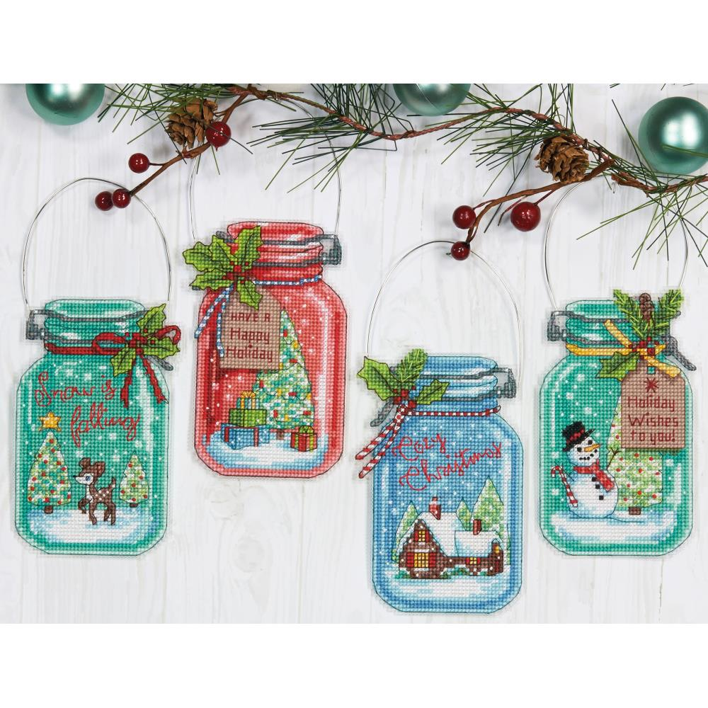 Christmas Jar Ornaments Counted Cross Stitch Kit