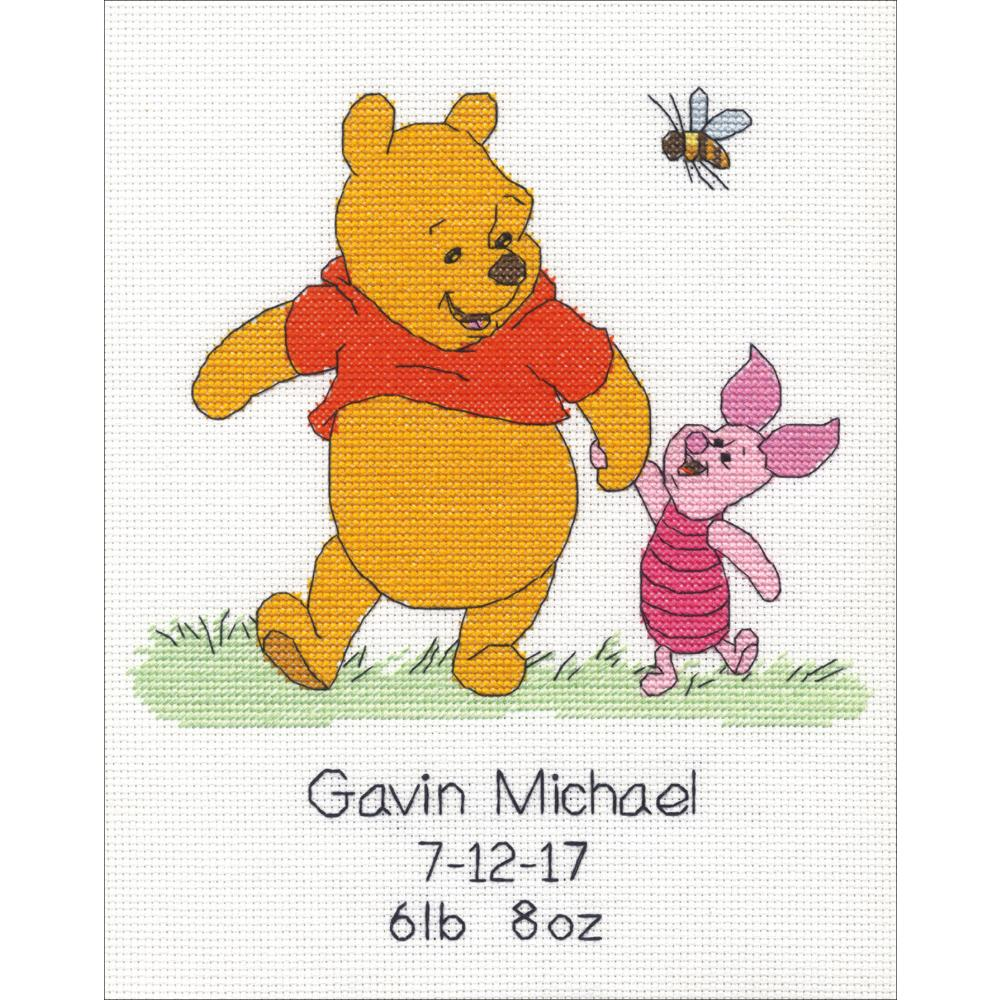 Winnie The Pooh Birth Record Counted Cross Stitch Kit
