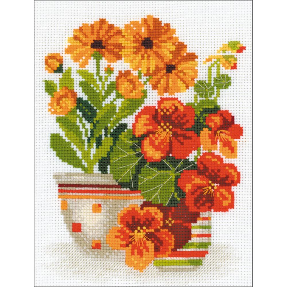 Nasturtiums & Marigolds (10 Count) Counted Cross Stitch Kit