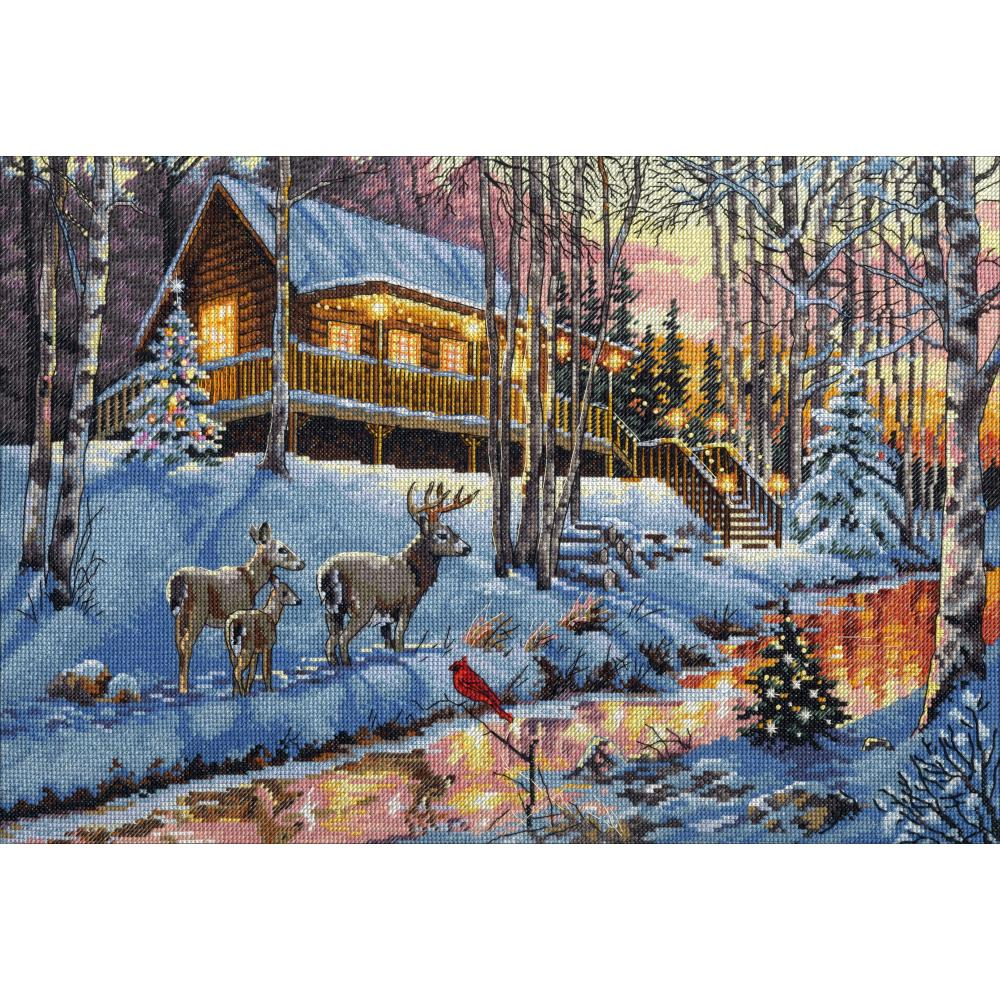 Gold Collection Winter Cabin Counted Cross Stitch Kit