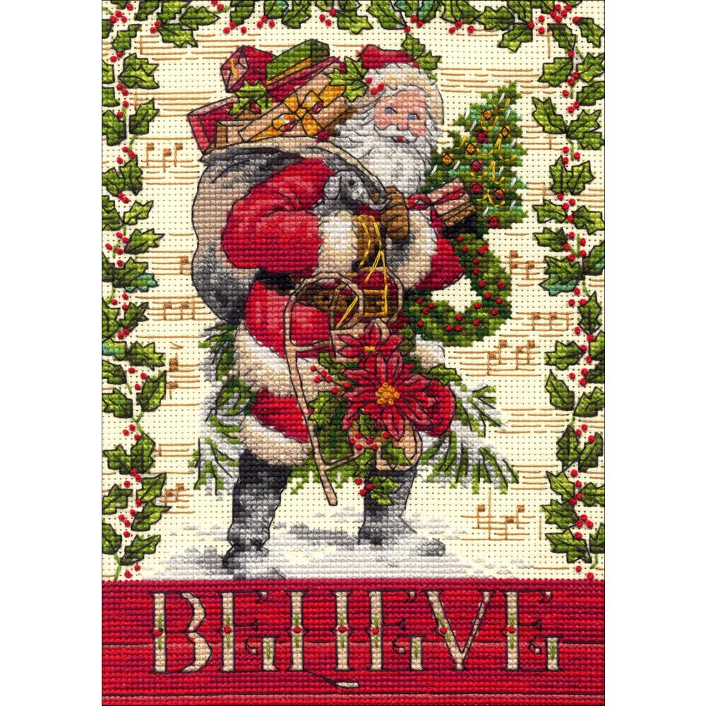 Gold Petites Believe In Santa Counted Cross Stitch Kit