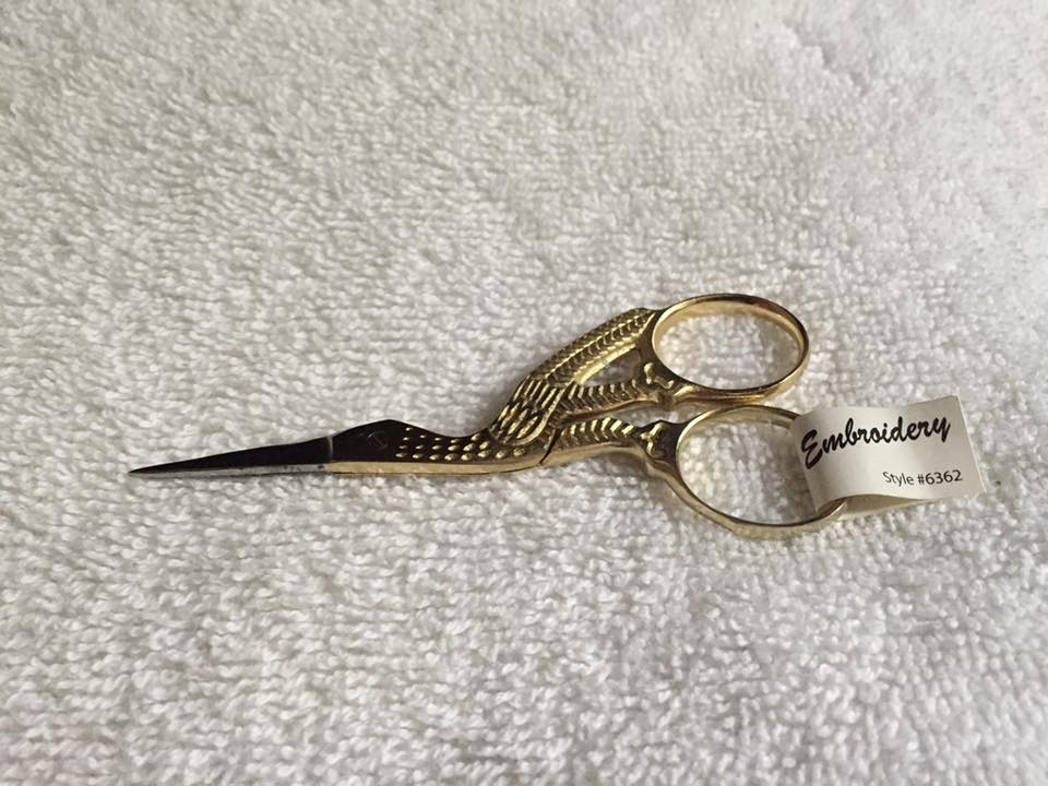 Embroidery Scissors - Gold Storks