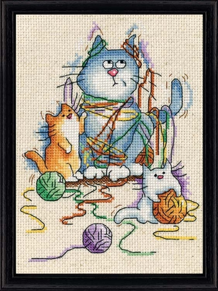 Yarn Cats Counted Cross Stitch Kit