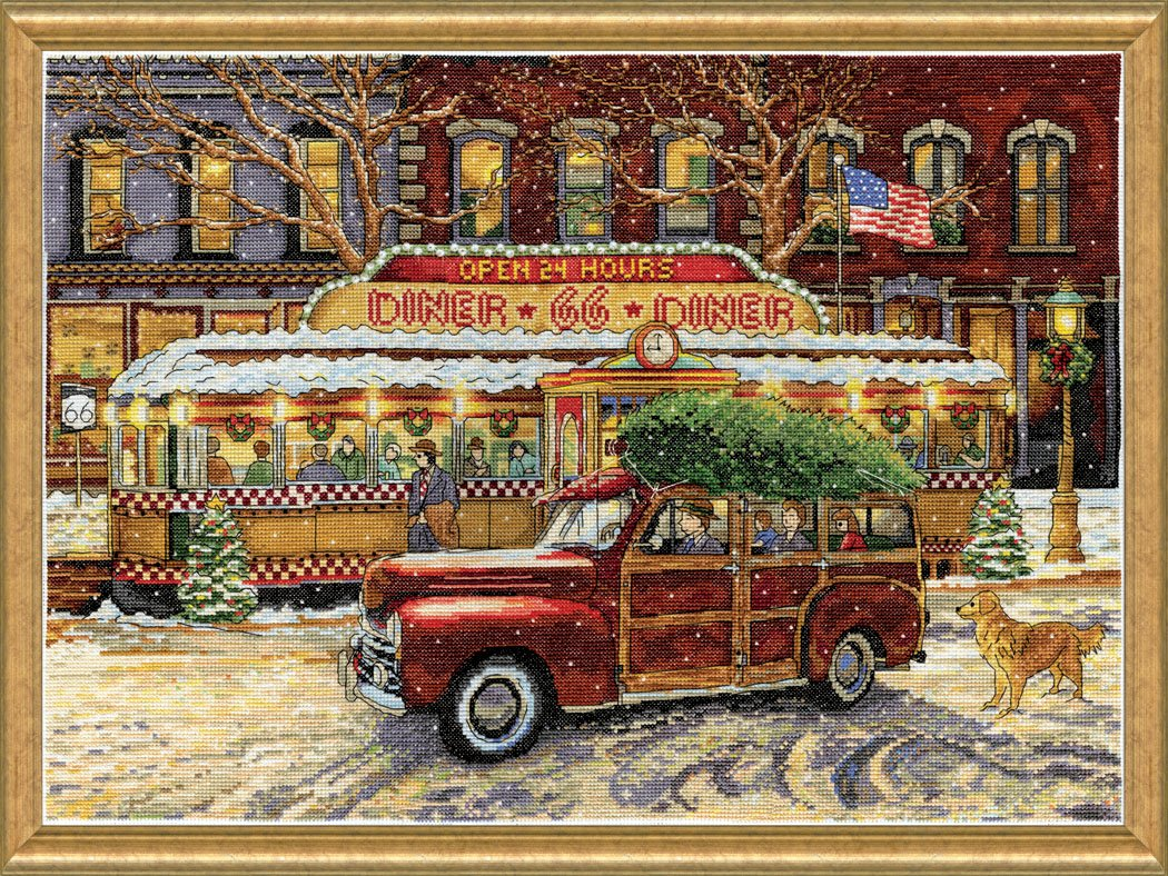 Route 66 Christmas Diner Counted Cross Stitch Kit