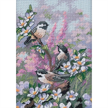 Gold Petites Chickadees In Spring Counted Cross Stitch Kit