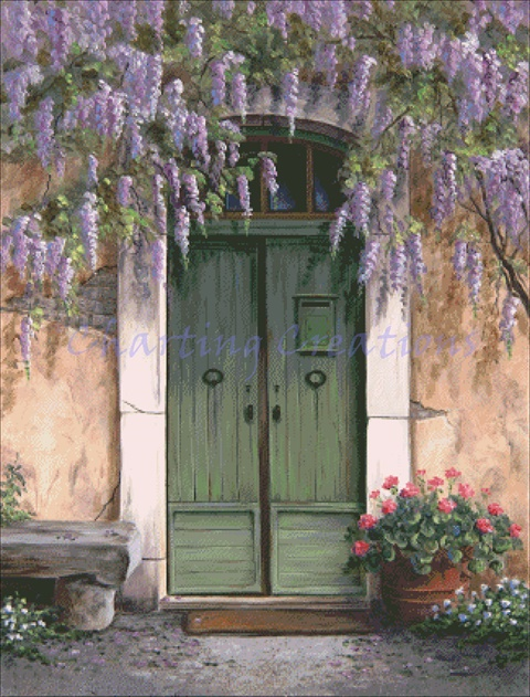 Green Door With Wisteria