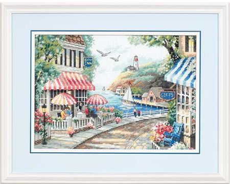 Cafe By The Sea Counted Cross Stitch Kit