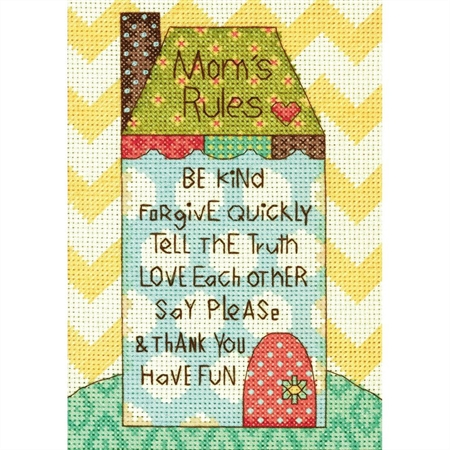 Mini Mom's Rules Counted Cross Stitch Kit