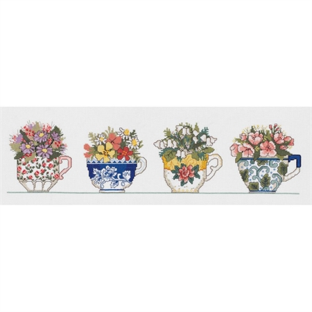 Row Of Teacups Counted Cross Stitch Kit