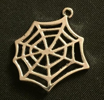 Silver Spider Web Charm