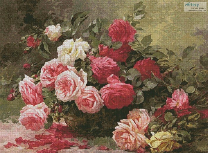 Basket Of Roses Painting