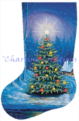 jacek posiak stocking a magical evening - Cross Stitch Christmas Stocking Kits