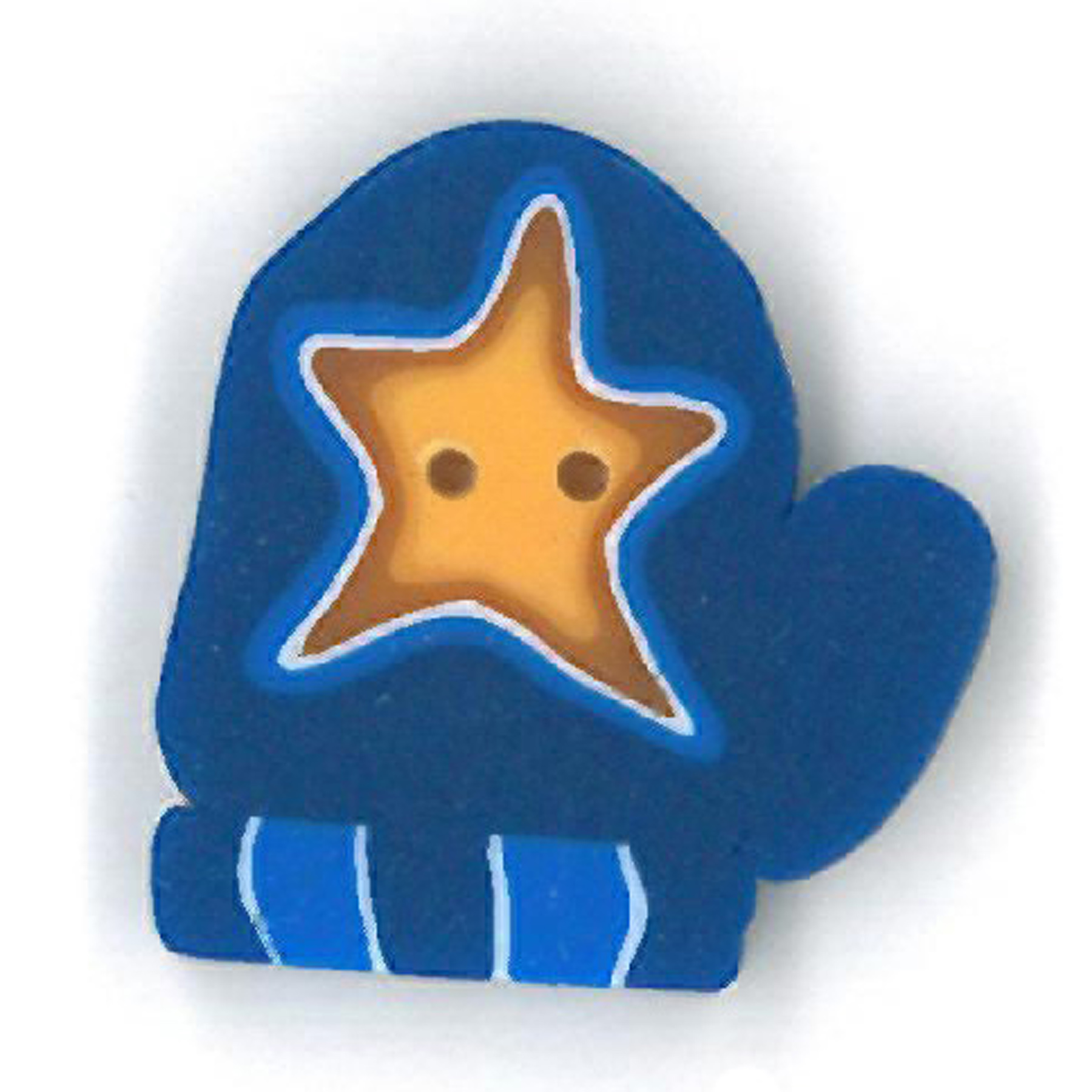 Blue Mitten With Star - Small