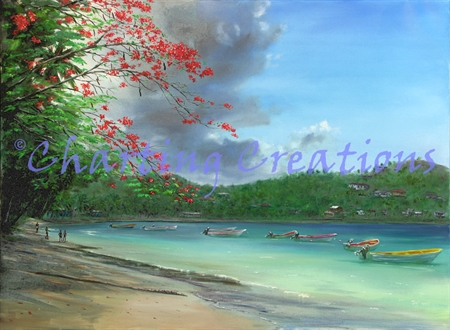 Laborie Bay with Flamboyant Tree