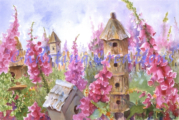 Foxgloves And Birdhouses