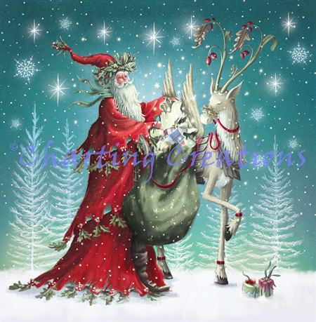 Forest Santa And Reindeer
