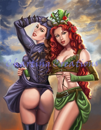Steampunk Poison Ivy And Batgirl