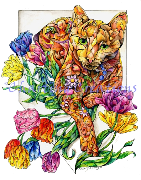 Spring Cat With Tulips