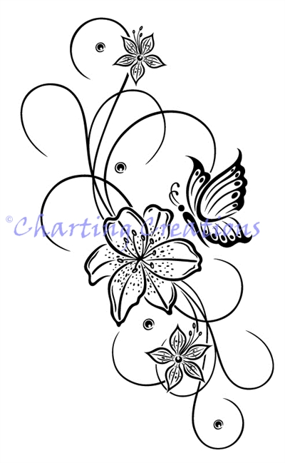 Floral Butterfly Silhouette