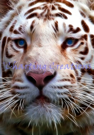 Small Fractal White Tiger