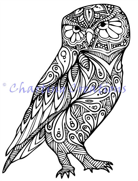 Zentangle Owl Silhouette