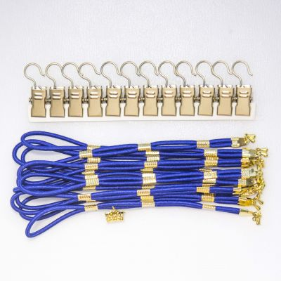 Dark Blue Side Tensioners with Charm - Gold Finish