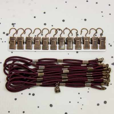 Burgundy Side Tensioners with Charm - Aged Copper Finish - Click Image to Close