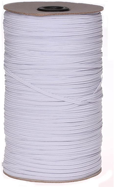 UNIQUE Braided Elastic 3mm x 320m Roll - White