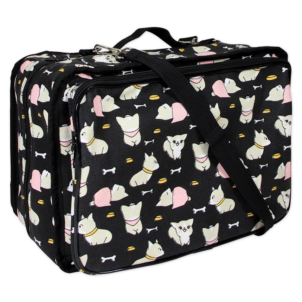 Dogs On Black Tote - Click Image to Close