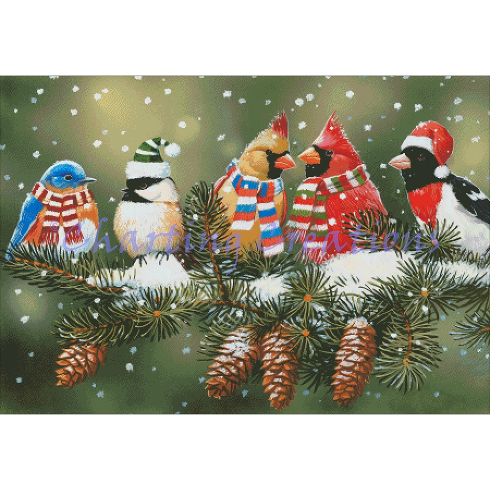 Festive Birds On A Snowy Perch