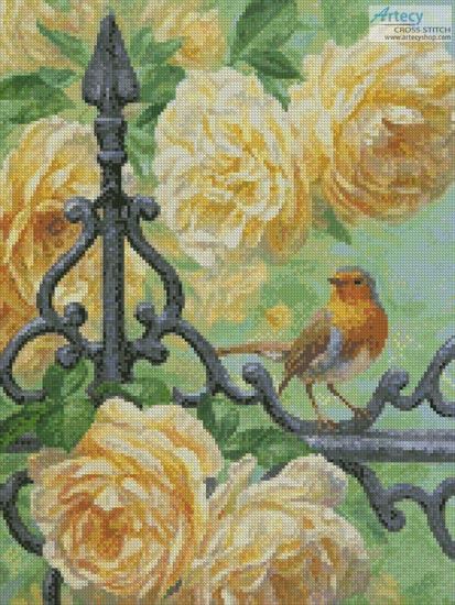 European Robin and Roses (Crop)