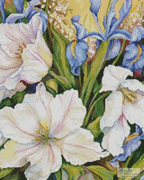 White Tulips and Blue Iris - Crop