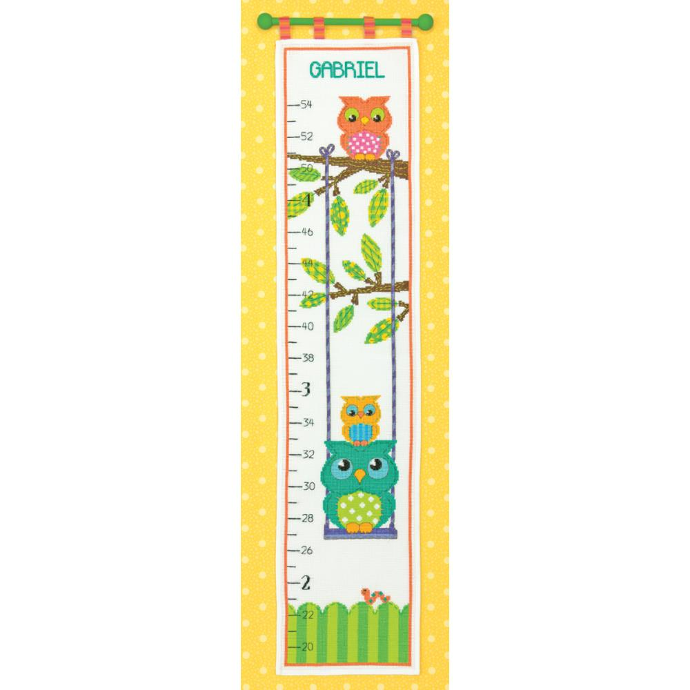 Owl Growth Chart Counted Cross Stitch Kit